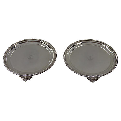 Old Sheffield Plate Salvers, Pair