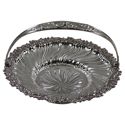 19th-C. Ornate Sheffield Plate Basket