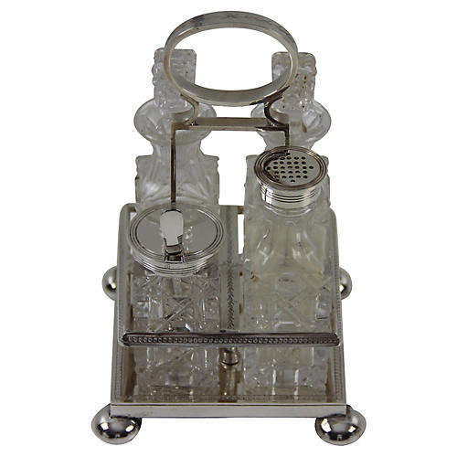 4-Bottle Cut-Glass Cruet, C.1870