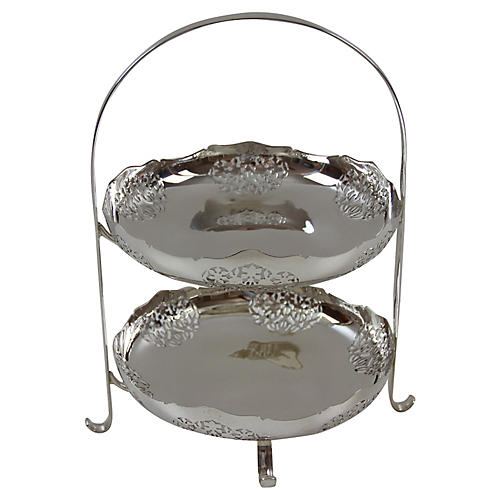 2-Tier Silver-Plate Cake Stand, C.1880