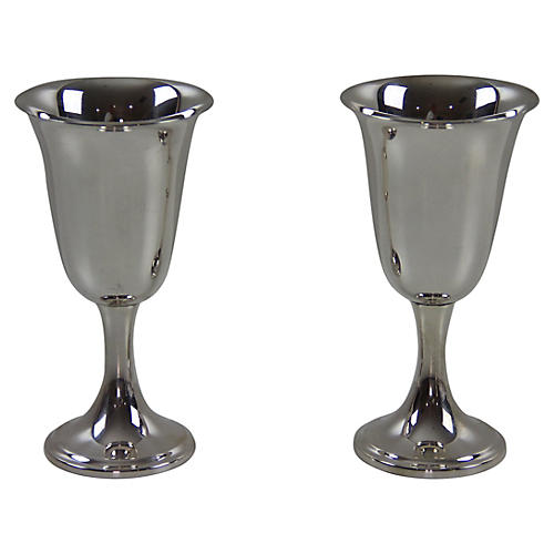 Newport Sterling Silver Wine Stems, Pair