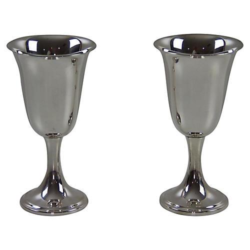 Newport Sterling Silver Wine Stems, Pair
