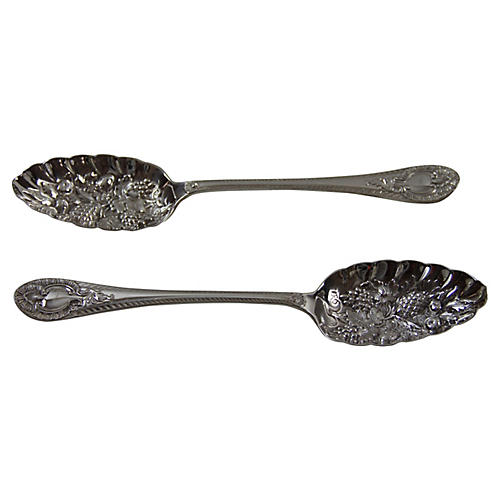 English Silver-Plate Berry Spoons, Pair