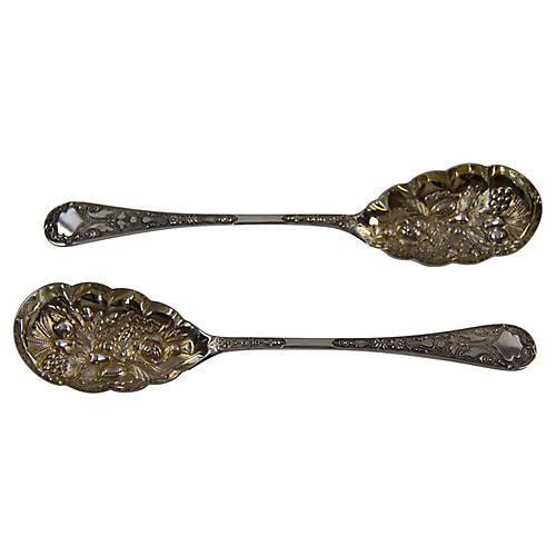C.1875 Silver-Plate Berry Spoons, Pair