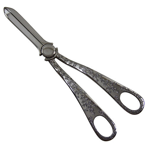 1870s Silver-Plate Engraved Grape Shears