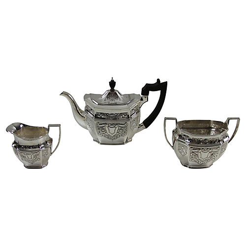 3-Pc Embossed Tea Set, C. 1875