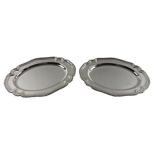 Gadrooned Silver-Plated Platters, Pair