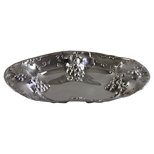American Silver-plate Oval Embossed Dish