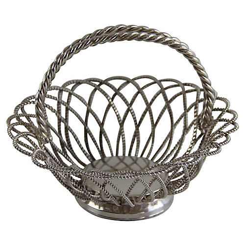 English Silver-plated Wirework Basket