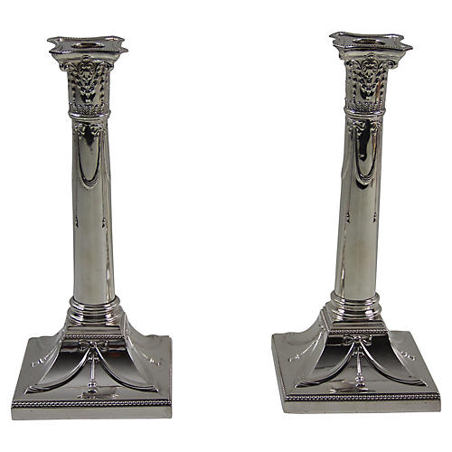 English Squared Pillar Candlesticks, Pr