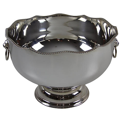 Scalloped Lion Handled Silver-plate bowl