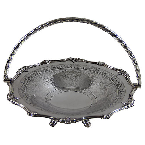 English Engraved Round Basket