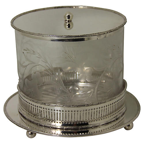 English Etched Glass Biscuit Box