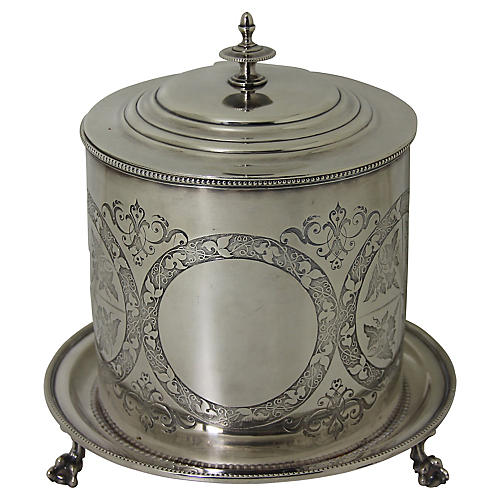 Engraved Silver-plate Biscuit Box