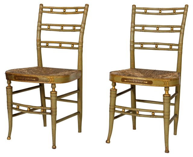 Painted Side  Chairs, Pair
