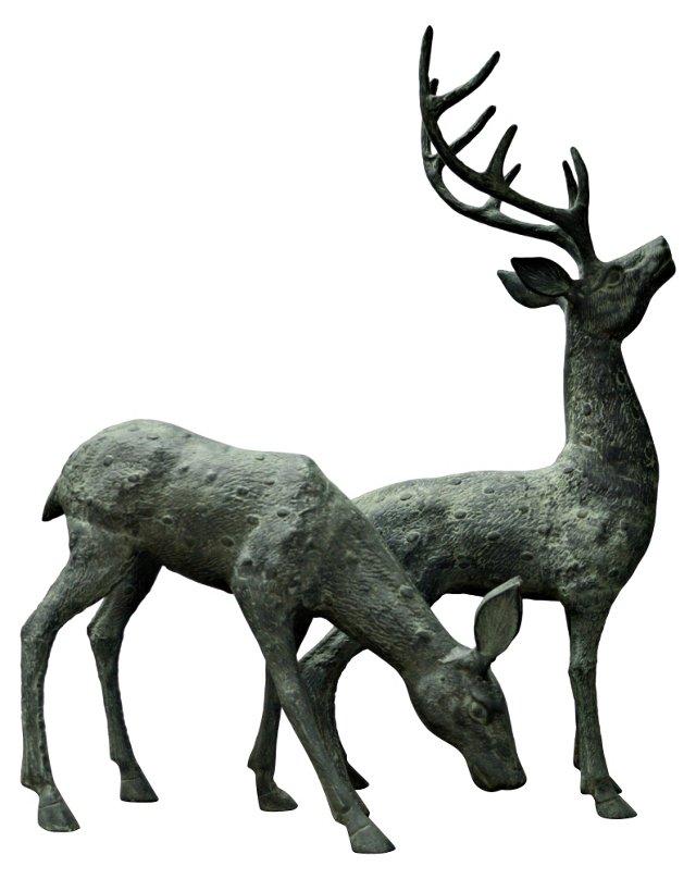 Deer Figurines, Pair