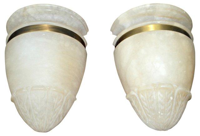 Alabaster & Brass Ring Sconces, Pair