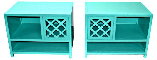 Baker Turquoise Nightstands, Pair