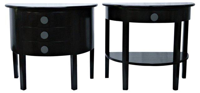 Black Demilune Side Tables, Pair