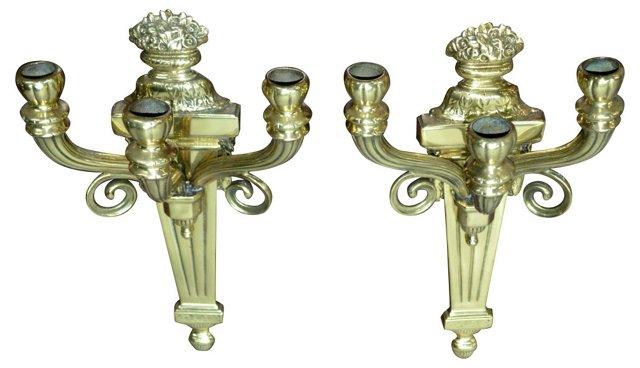 Neoclassical Three-Arm Sconces, Pair