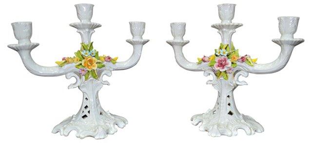 Italian Ceramic Candelabra, Pair