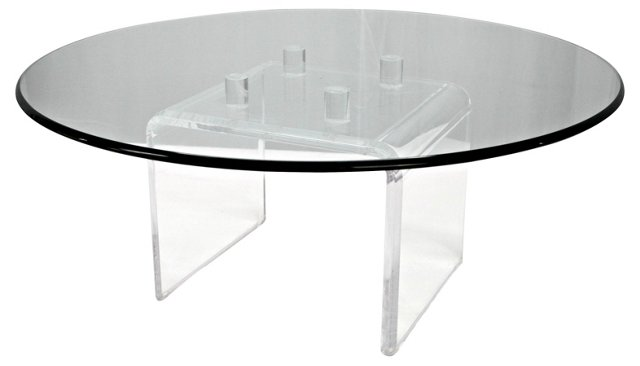 Round Lucite & Glass Cocktail Table