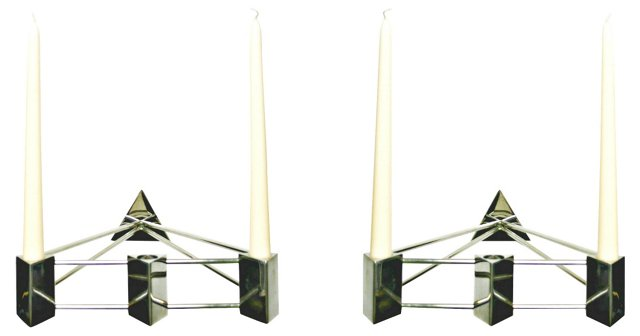 Stainless Steel Sconces, Pair