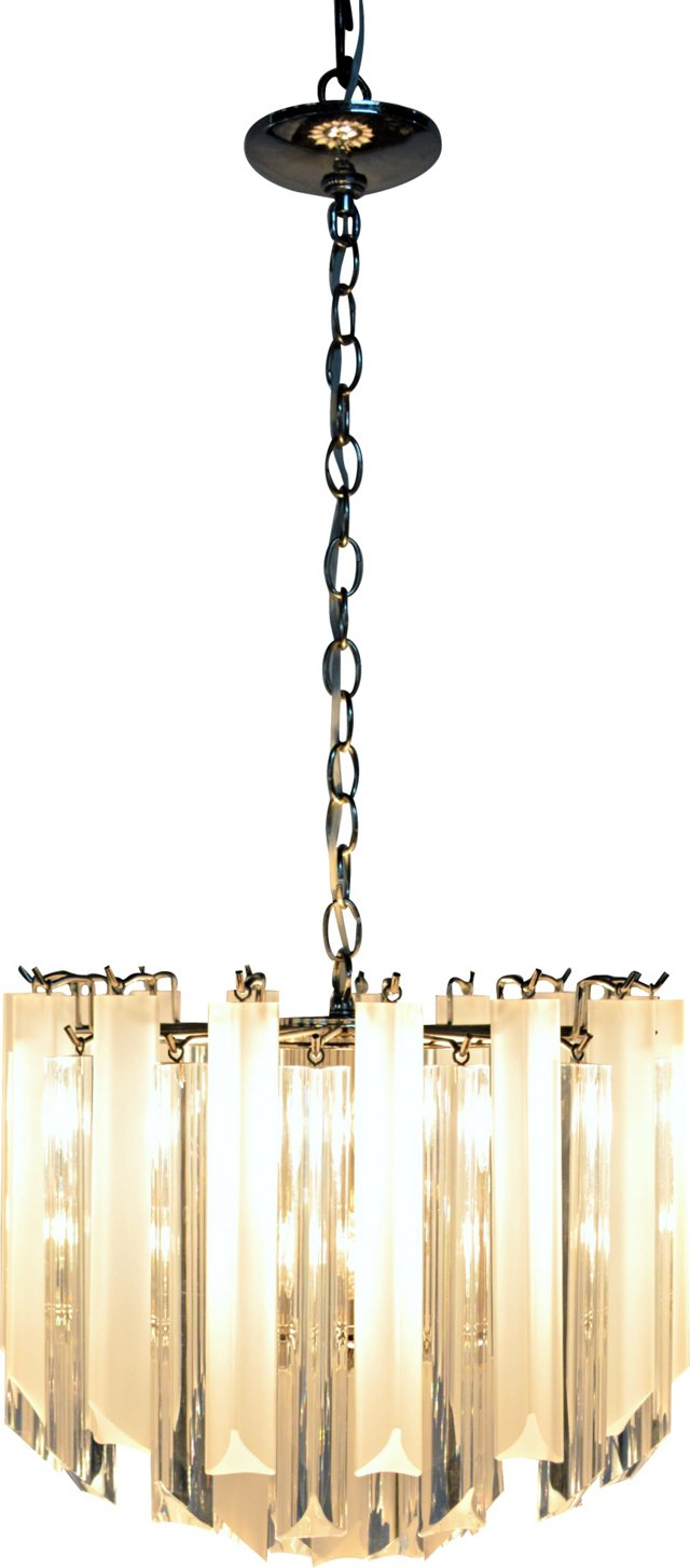 Frosted & Clear Lucite Chandelier