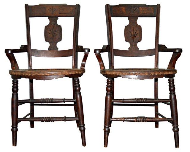 19th-C. Wood Armchairs, Pair