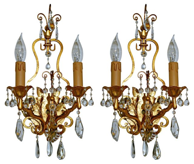 Italian Gilt Sconces, Pair