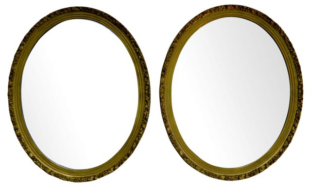 Oval Mirrors, Pair