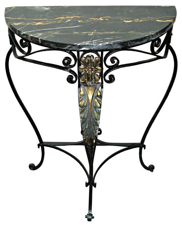 French Demilune Console w/ Marble Top