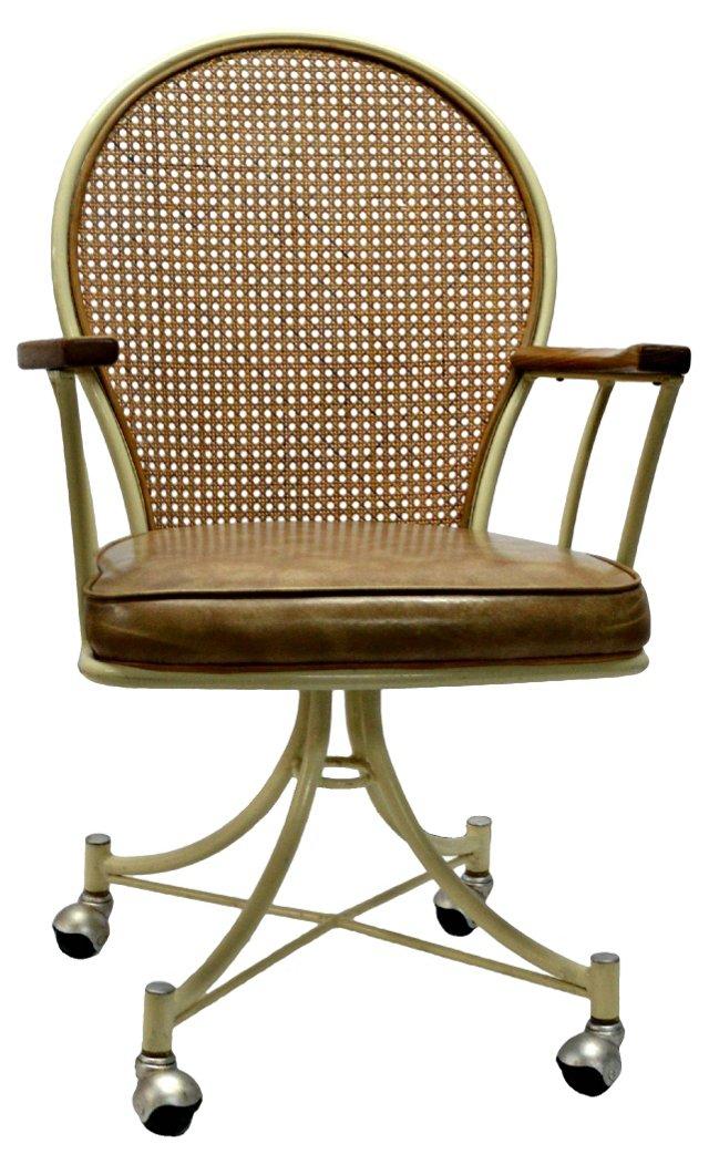 Cane-Back Iron Desk Chair