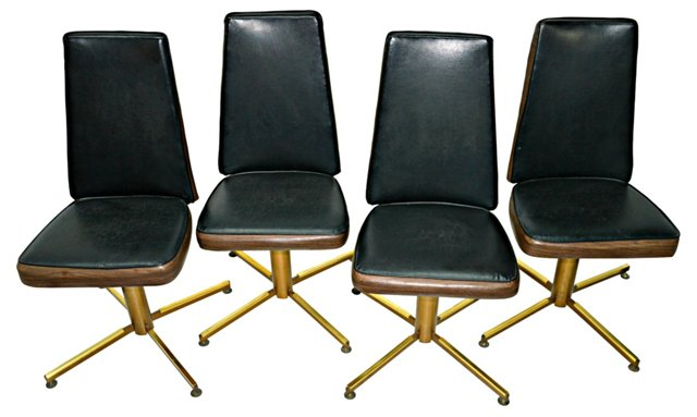 1970s Swivel Chairs, Set of 4