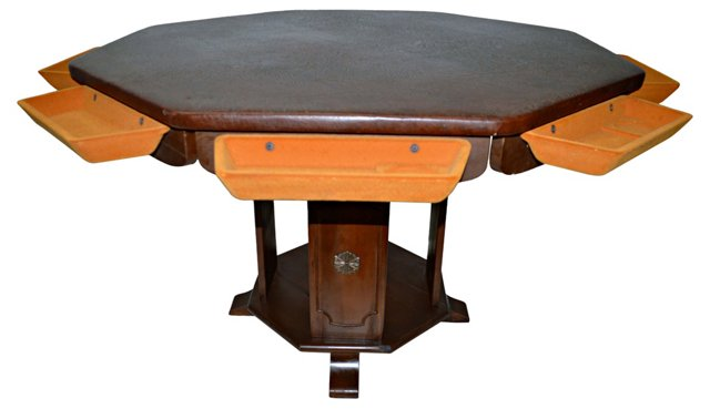 Octagonal Game Table w/ Drawers