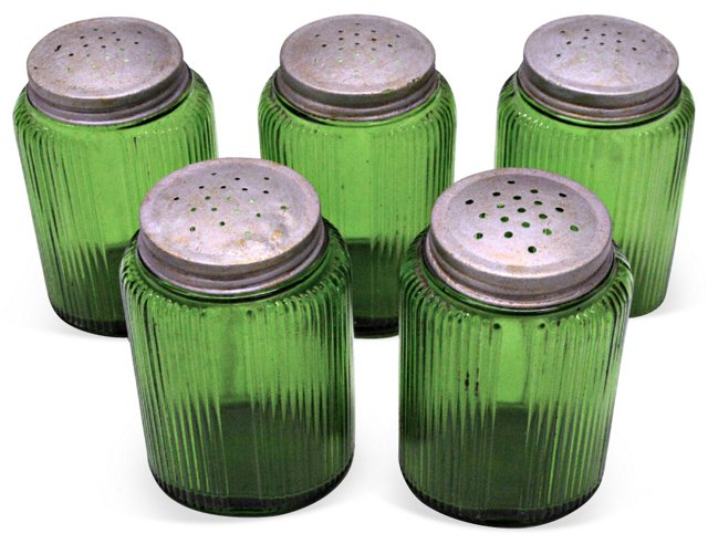 1940s Green Glass Canisters, S/5