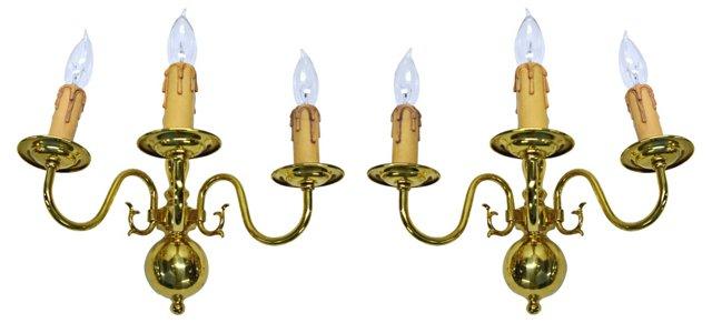 Dutch-Style 3-Arm Brass Sconces, Pair