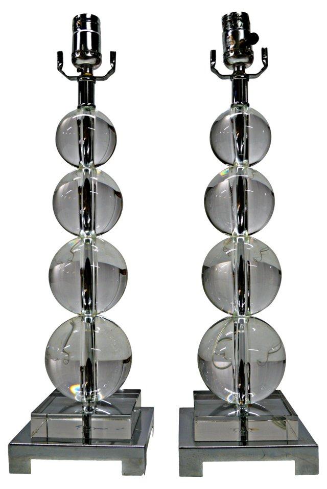 Lucite Balls Table Lamps, Pair
