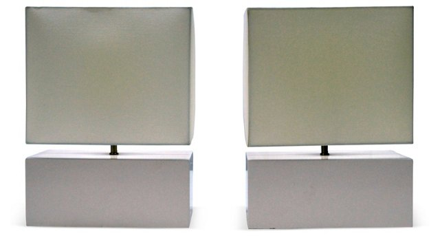 White Table Lamps, Pair