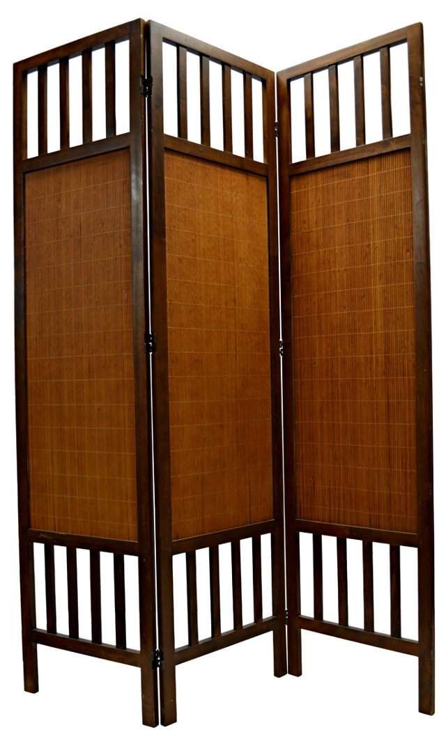 3-Panel Wood & Dried Grass Screen