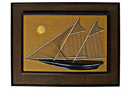 Sailboat String & Nail Ship Hanging Art