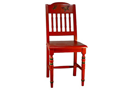 Red Chinoiserie Wooden Desk Chair