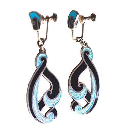Margot de Taxco Turquoise Swirl Earrings