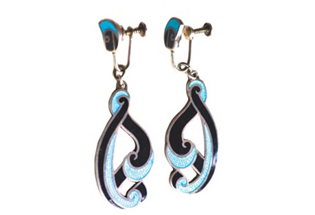 Margot de Taxco Turquoise Swirl Earrings