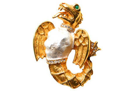 KJL Laguna Dragon Brooch
