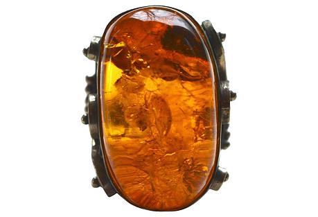 Oversize Latvian Amber Ring
