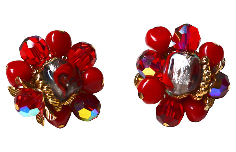 Vibrant Red Glass Vendome Earrings - Sarara Vintage Couture