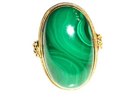 14K Gold & Malachite Edwardian Ring