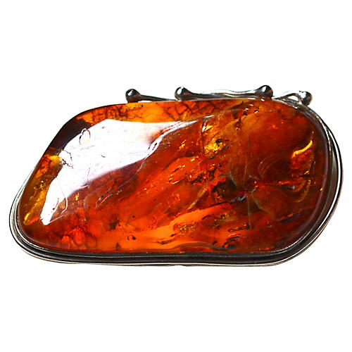 Amber Nouveau Brooch