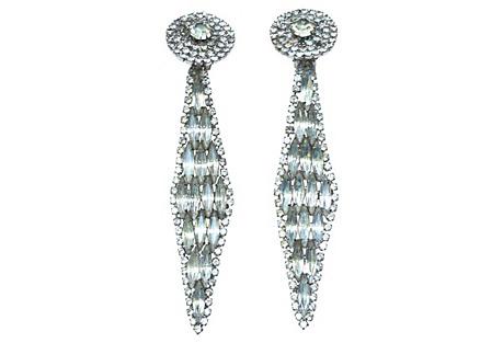 1960s Oversize Rhinestone Earrings